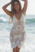 Freesia White Center Sun Scalloped Crochet Beach Cover Up