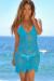 Freesia Turquoise Center Sun Scalloped Crochet Beach Cover Up