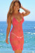 Freesia Coral Center Sun Scalloped Crochet Beach Cover Up