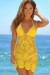 Freesia Yellow Center Sun Scalloped Crochet Beach Cover Up
