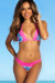 Laguna Aqua Tropical & Pink Single Edge Lace Bikini Top & Maui Aqua Tropical & Pink Lace Band Bikini Bottom