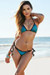 Jamaica Teal Shimmer Sexy Triangle Top Single Rise Scrunch Swimsuit