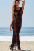 Chianti Black Fringed Crochet Maxi Beach Dress Cover Up