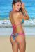 Tahiti Tropical Print & Fuchsia Double Strap Triangle Top Micro Scrunch Sexy Bikini