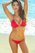 Oahu Bikini on a Chain™ Red Triangle Top & Single Rise Scrunch Bottom
