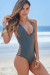 Peony Dark Silver Deep V Side Cut Out Sexy One Piece Swimsuit
