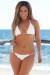 Daisy Sexy White Ruffled Triangle Top Single Rise Crochet Scrunch Bikini