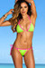 Chile Neon Green & Pink Sexy Triangle Top Polka Dot G-String Thong Bikini