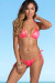 Palm Beach Sexy Neon Coral & Gold Duchess Print Triangle Top Thong String Bikini