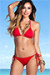 Surfside Solid Red Triangle Top Single Rise Sexy Scrunch Bun® Bikini