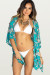 Vodkatini Teal Floral Sketch Print Kimono Bikini Cover Up