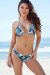 Tropical Palm Print Triangle Top & Sexy Banded Brazilian Thong Bikini