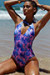 Lolita South Beach Palm V Neck Halter One Piece Swimsuit
