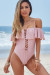 Poppy Pink Off Shoulder Lace Up Ruffle Swimsuit