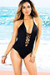 Azalea Black Plunging Lace Up Halter One Piece Swimsuit