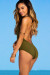 Azalea Olive Green Plunging Lace Up Halter One Piece Swimsuit