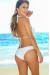 Solid White Sexy Triple Strap Triangle Top & Classic Scrunch Bottom Bikini