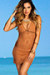 Jasmine Tan Center Sun Mini Dress Crochet Cover Up
