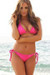 Laguna Single Rise Solid Fuchsia Triangle Top Bikini with Sexy Scrunch Bottom