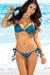Vegas Teal Blue Triangle Top & Micro Scrunch Bottom Sexy Sequin Bikini