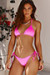 Neon Pink Triangle Top & Neon Pink Full Coverage Scrunch Bottom