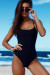 Marilyn Black Back Lace Up One Piece Swimsuit
