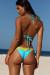 Aqua & Yellow Edge Lace Triangle Top & Aqua & Yellow Edge Lace Classic Scrunch Bottom