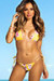 Yellow Cherry Blossom Triangle Top G-String Thong String Bikini