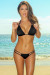 Tahiti Solid Black Sexy Double Strap Triangle Top Micro Scrunch Swimsuit