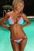 Orlando Aqua & Neon Pink Sweetheart Lace Triangle Top Scrunch Bottom Swimsuit