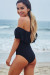 Violets Black Off Shoulder One Piece Ruffle Swimsuit