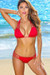 Miami Solid Red Sexy Triple Strap Scrunch Bottom Triangle Bikini Swimwear