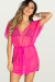Afterparty Fuchsia Mesh Hooded Cinch Waist Beach Cover Up