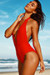 Liz Red Deep V Halter One Piece Swimsuit