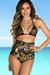 Waikiki Black & Gold Duchess Print Triangle Top & Scrunch Bottom Retro Sexy High Waist Bikini