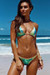 Jamaica Gold & Blue Green Shimmer Sexy Triangle Top Single Rise Scrunch Swimsuit