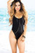 Palmetto Black Spaghetti Strap High Cut One Piece Swimsuit