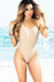 Palmetto Taupe Spaghetti Strap High Cut One Piece Swimsuit