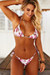 Ivory Pink Floral Triangle Top & Ivory Pink Floral Brazilian Thong Bottom