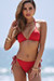 Red Triangle Bikini Top & Red Full Coverage Scrunch Bottom