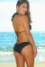 Miami Solid Black Sexy Triple Strap Scrunch Bottom Triangle Bikini Swimwear