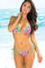 Santorini Island Tropical Print Triangle Bikini Top & Sexy Thong Bikini