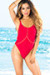 Palmetto Red Spaghetti Strap High Cut One Piece Swimsuit
