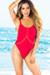 Palmetto Red Spaghetti Strap High Cut One Piece Swimsuit
