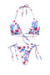 Pink & Blue Tropical Triangle Top & Pink & Blue Tropical Brazilian Thong Bottom