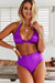 Purple Adjustable Halter Top & Purple Full Coverage High Waist Bottom