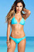 Ibiza Brazilian Cut Solid Aqua Triangle Top Sexy Thong Bikini
