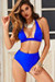 Royal Blue Adjustable Halter Top & Royal Blue Full Coverage High Waist Bottom
