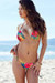 Palm Beach Sexy Sunset Tropical Print Triangle Top Thong String Bikini