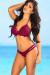 Lotus Sexy Burgundy Triangle Top & Double Strap Scrunch Bottom Crochet Bikini